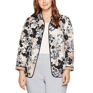 Jackets & Blazers - Women's Plus Size Quilt Jacket Floral Priny